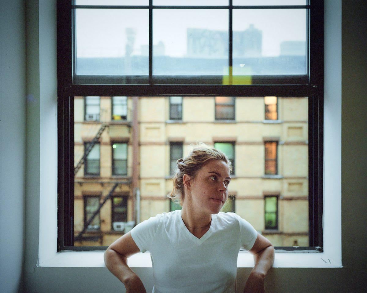 Maria, Brooklyn, New York, USA, America, portrait, portraiture, girl, woman, blonde, black, classic, film, eric thompson