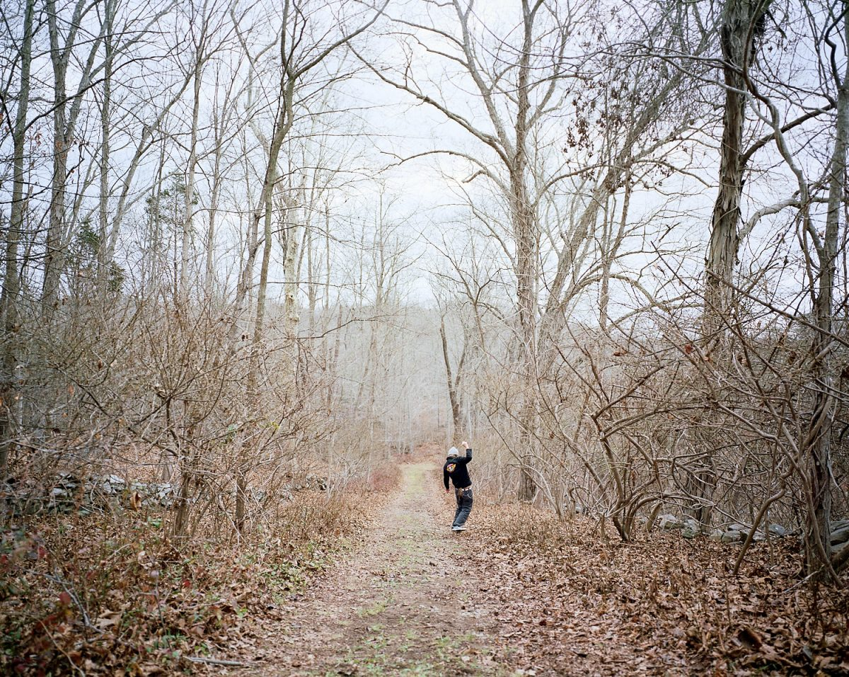 Chad, Old Lyme, Connecticut, USA, America, americana, travel, tourism, skate, skateboarding, dirt, dirtboarding, dreads, dreadlocks, powell peralta, powell, bones brigade, fall, winter, outdoors, trees, leaves, cold, twigs, branches, fun, film, eric thompson