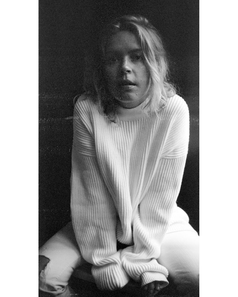 portrait, woman, beauty, film, black and white, brownie, kodak, sweater, grain, medium format