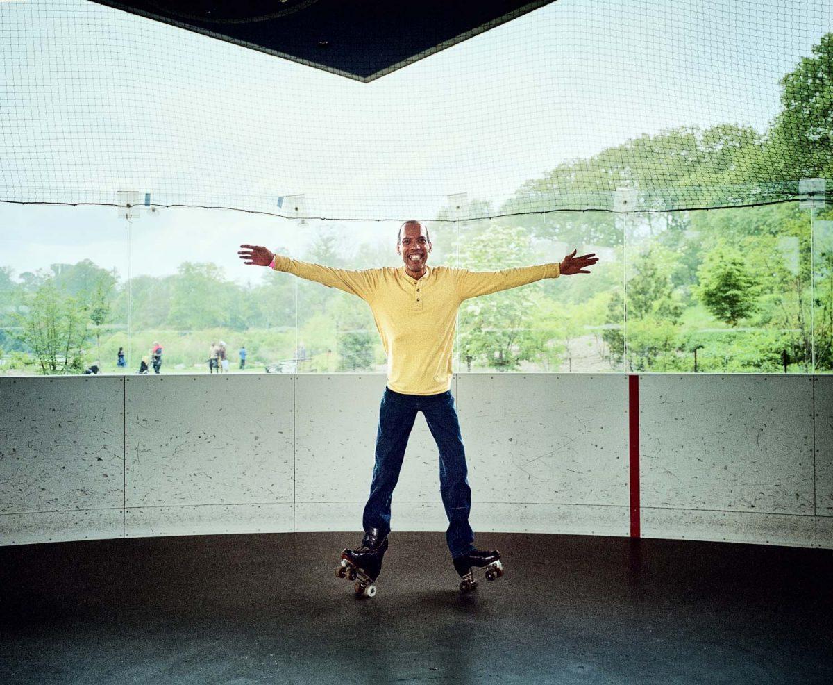 Crazy Legs, LeFrak center, rollerskating, dancing, rollerrink, brooklyn, new york, 6x7, film, color, kodak